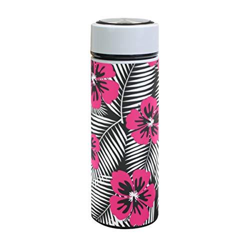 Emoya Botella de agua de acero inoxidable, 500 ml, diseño de flores tropicales de hibisco y hojas de palma blancas, aislada al vacío, sin BPA, a prueba de fugas, doble pared, boca ancha para bebidas frías y calientes, 17 onzas