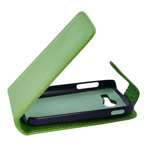 Mobilfunk Krause - Flip Hülle Etui Handytasche Tasche Hülle für Samsung SM-G110H / G110H (Grün)