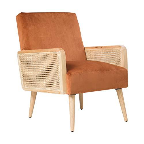 Loungesessel Samt mit Rattan Armlehne Relaxsessel Einfach zu Installierender Polsterstuhl für Wohnzimmer und Schlafzimmer Balkon Sesse Holz Modern Samt Stuhl bis 150 kg Orange 64.5W X 74D X 83H cm