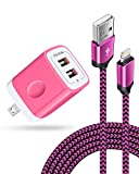 [Apple MFI Certified] iPhone Charger for 12/12 Mini/12 Pro/12 Pro Max/SE/11/11 Pro/11Pro Max/XS/XR/8/7/6s, iPad, iPod, AILKIN Fast Charging Braided Cable with USB Wall Charger, Dual USB Block 6ft Cord