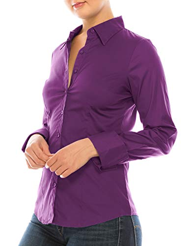 MAYSIX APPAREL Long Sleeve Stretchy Button Down Collar Office Formal Shirt Blouse for Women Purple S