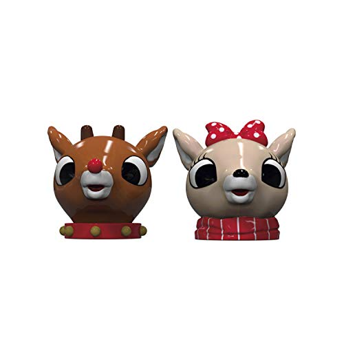 Zak Designs Rudolph the Red-Nosed Reindeer Sculpted Ceramic Salt and Pepper Shaker 2-piece Set Box, Collectible Keepsake for Xmas or Holiday Present (Rudolph & Clarice, 2pc, BPA-Free)