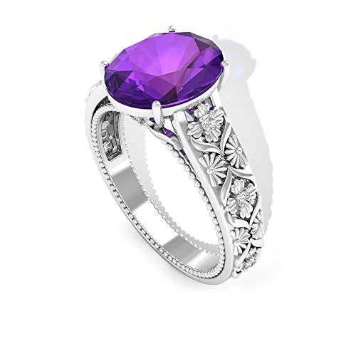 Anillo de compromiso de amatista con forma ovalada de 2,4 quilates, anillo de piedras preciosas soliatire, anillo de boda de diamante certificado SGL, 14K Oro blanco, Size:EU 48