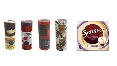 Senseo Cappuccino Choco + 4 Pad Dosen mit Motiven II und 4 Padhebern
