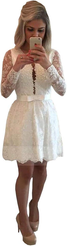 Ellystar 2018 Little Homecoming Dresses VNeck Long Sleeves Lace Short Prom Dress