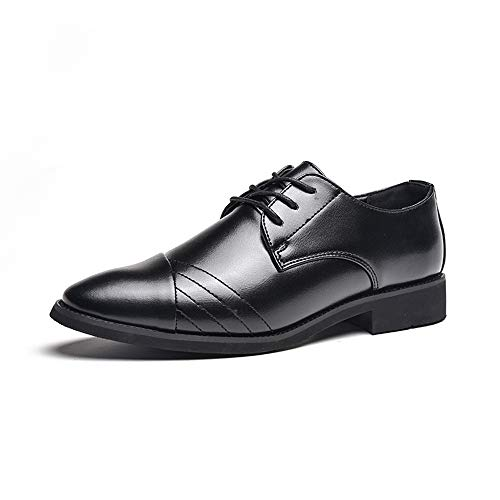 HXSD Men's Business Casual Oxford Dress Shoes British Fashion tip Stylish and Comfortable, Non-Wearing feet, Durable (Color : Black, Size : 9 M US)