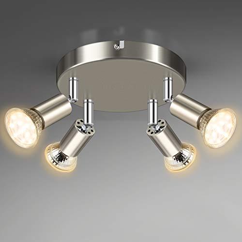 Unicozin 4 Flammig LED Deckenstrahler, LED Deckenleuchte inkl. 4 x 4W GU10 LED Leuchtmittel (400LM, Warmweiß 2900K), ø180mm, Matte Nickel Deckenspot Schwenkbar, für Küche Wohnzimmer Schlafzimmer