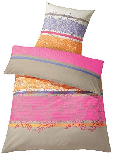 Meradiso® Mikrofaser Satin Wendebettwäsche, KOMFORTGRÖSSE (155x220 cm, pink/beige/orange, Floral/Gestreift)