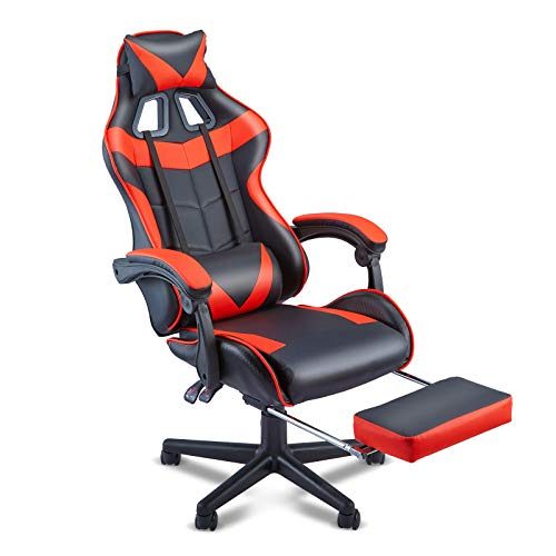 Soontrans Red Gaming Chair with Footrest,Ergonomic Computer Gaming Chair,Silla Gamer,PC Computer Chair with Adjustable Headrest,Removable Lumbar Pillow