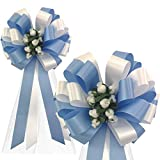 Baby Blue and White Wedding Pull Bows with Tulle Tails and Rosebuds - 8' Wide, Set of 6, Wedding Pew Bows, Aisle Decoration. Reception, Anniversary
