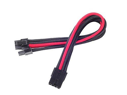 Silverstone SST-PP07-PCIBR - Cavo di Estensione sleevato 8pin a PCI-E 6+2pin, 25cm, Nero/Rosso