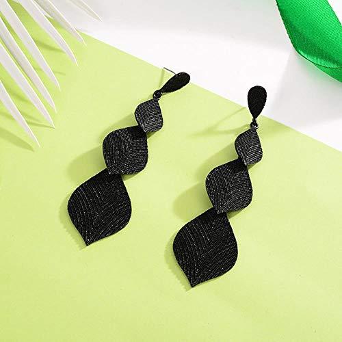 XCWXM Hrringe Damen Legierung Blattförmige Lange Tropfen Ohrringe Farbe Einfache Tandem-Mode Koreanische Ohrringe Für Frauen An Freund Pistole Schwarz