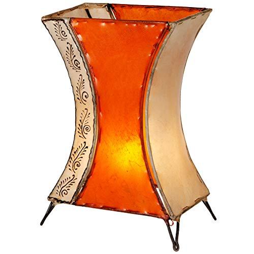 Orientalische Tischlampe Chika 40cm Lederlampe Hennalampe Lampe | Marokkanische kleine Tischlampen aus Metall, Lampenschirm aus Leder | Orientalische Dekoration aus Marokko, Farbe Orange, Natur