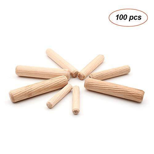 KKmoon 100pcs Dowel houten deuvels gefluit houten deuvels Set van 100pcs Dowel pinnen gefluit pinnen voor meubelkasten 8mm x 40mm