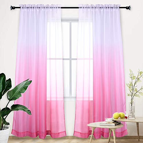 Pink Curtain Ombre Sheer Curtain Teenage Girls Bedroom Gradient Window Panel for Princess Toddler/Baby Kids Room/Nursery/Living Room/Closet Sheer Backdrop Curtain Set Party Drape 95 Inch