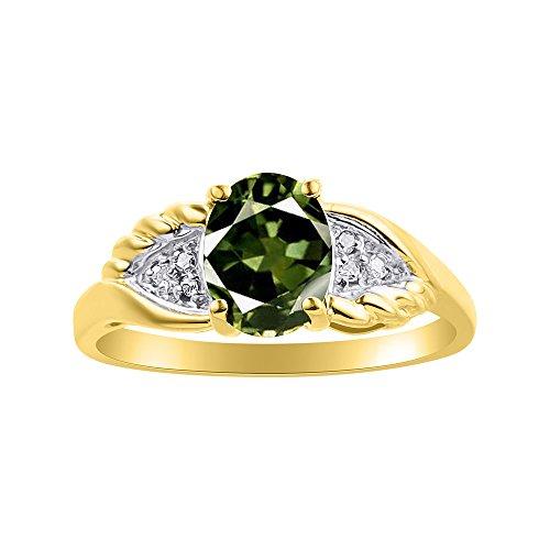 Juego de anillos de zafiro verde y diamante chapado en oro amarillo con diseño de alas de diamante