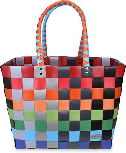 normani Einkaufstasche geflochten mit Henkeln - Tragetasche extra robust Farbe Classic/Fruit
