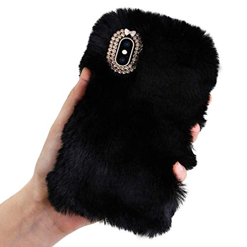 Plush Case for iPhone 5 5S SE Rabbit Fur Case,LCHDA iPhone SE 5S 5 Bunny Furry Fluffy Fuzzy Phone Case for Girls Cute Winter Warm Hair Soft TPU Back Case Cover with Luxury Diamond Bowknot-Black