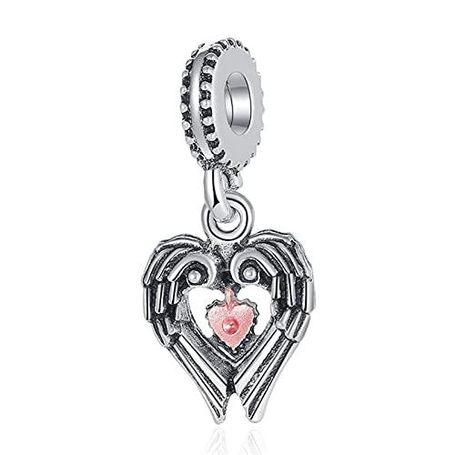 Pandora 925 plata esterlina joyería colgantes nova vintag coração-em forma de penas pingente contas adequado para charme pulseira senhoras jóias fazendo presentes