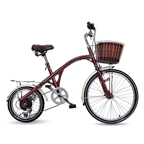 AISHFP Adult Lightweight Retro Commuter Bike, City Electroplating Road Bikes, 6-Speed 24Inch Women Casual Bicycle,A
