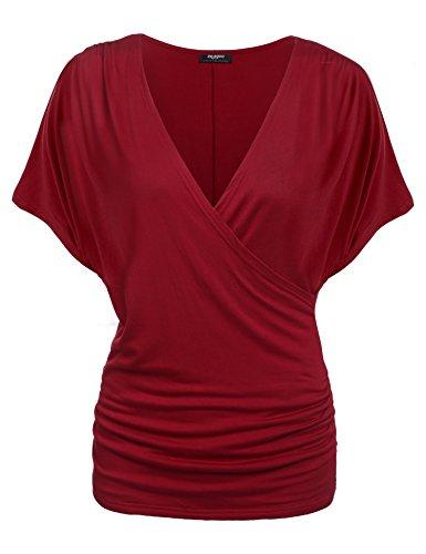 Zeagoo Damen V-Ausschnitt T-Shirt Kurzarm Batwing Fledermaus Sommer Shirt Tunika Bluse, L, Weinrot