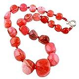 TreasureBay - Splendida collana da donna con pietre di agata e nessuno, colore: rosa, cod. TBGEM01