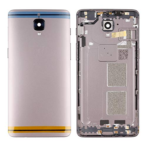 Swark Replacement Battery Door Back Cover Compatible with OnePlus 3/3T A3010 OnePlus Three 3 A3000 A3003 Metal Back Cover + SIM Card Tray with Camera Glass Lens Repair Broken Cellphone