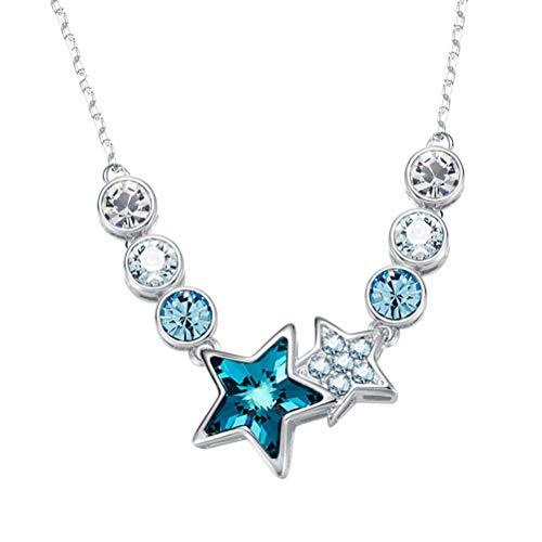 Lorina Collares Oro Blanco para Mujer con Piedras de Cristal de Swarovski Collares Que Brillan cambian de Color Infinito Lindos