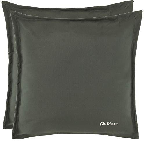 Brandsseller Outdoor Kissen Dekokissen - Schmutz- und Wasserabweisend mit Reißverschluss 2 cm Steg - 350 gr. Füllung - Größe: 48 x 48 cm - Farbe: Dunkelgrau - 2er Vorteilspack