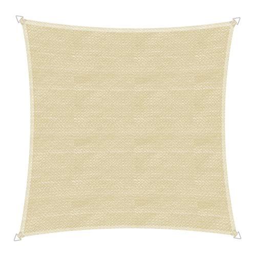 Windhager 10753 Capri Voile d'ombrage carré 4 x 4 m (cuise) Protection Solaire pour Jardin et terrasse, résistant aux UV et aux intempéries Champagne 4 x 4 m
