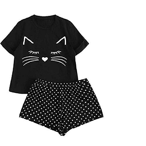 Conjunto de Pijama Estampado Cactus para Mujer Shorts Casuales para niñas Camiseta con Volantes de Manga Corta Ropa de Dormir Conjunto de Pijama