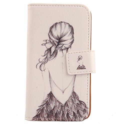 Lankashi PU Flip Leder Tasche Hülle Hülle Cover Handytasche Schutzhülle Etui Skin Für BQ Aquaris E6 Back Girl Design