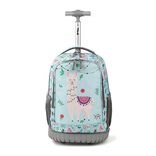 Tilami Rolling Backpack 19 inch Wheeled Cute LAPTOP Boys Girls Travel School Student Trip (Alpaca)