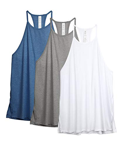 icyzone Damen Sport Tank Tops Hoher Hals Yoga Gym Oberteile Laufshirt Ärmellos, 3 Pack (XL, Grau/Weiß/Denim Blau)