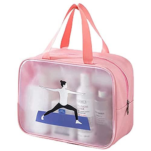 Borsa multifunzionale impermeabile per il trucco, borsa per il trucco da viaggio portatile di grande capacità, scatola trasparente per la cura della pelle, Polvere di yoga, L,