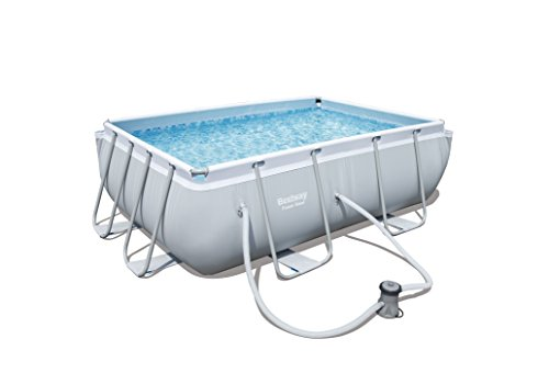 Bestway Power Steel Kit Piscine à Cadre rectangulaire, Gris...