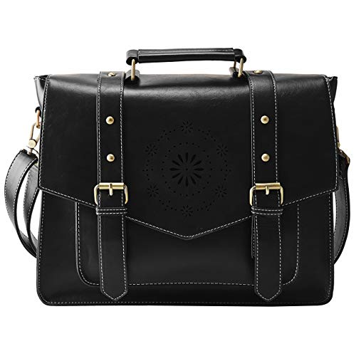 "ECOSUSI Messenger Bag for Women Briefcase Messenger Laptop Bag PU Leather Satchel Work Bags Fits 14"" Laptop, Black"