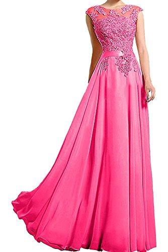 Charmant Damen Spitze lang Abendkleider Ballkleider Brautmutterkleider Promkleider A-Linie Abschlussballkleider -38 Pink