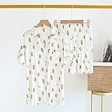 XFLOWR Comfort Nature Sleepwear Pijamas de Verano para Mujer Pijamas de Manga Corta con Pantalones Cortos Cómodo algodón Mujer Casual Home L Blanco
