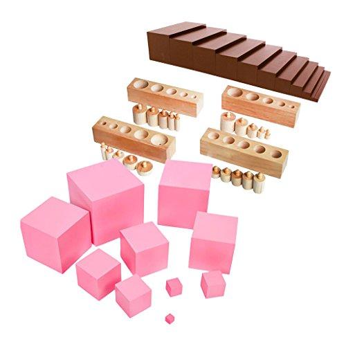 perfeclan Familiar Juguete Montessori 3 en 1 - Escalera Marrón, Torre de Construcción Rosa, Bloques de Cilindro Juegos Educativos para Niños 2-6 Años