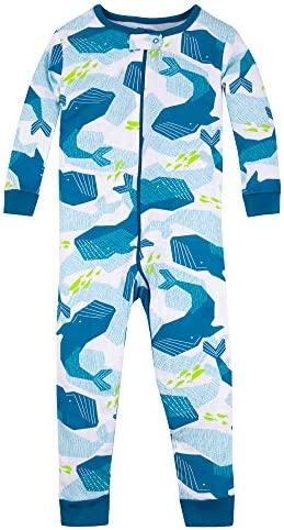 Lamaze Organic Baby Boys Stretchie One Piece Sleepwear Baby and Toddler Footless Zipper Whales product image