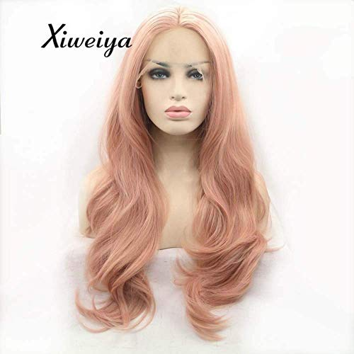 Xiweiya Pink Wavy Lace Front Wig Long Fluffy Orange Red Synthetic Wigs Natural Hairline Rose Golden Lace Wig Peach Pink Wave Hair Replacement Heat Resistant Fiber Hair 24inch
