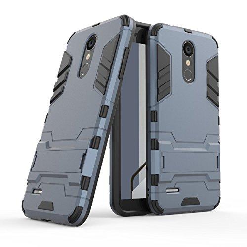 HDRUN LG K9 / LG K8 2018 Hülle, 2 In1 Kratzfeste Handyhülle Hybrid TPU Silikon Bumper Schale PC Doppelschichter Schutzhülle Standfunktion für LG K8 2018 Hülle Cover, Dunkelblau