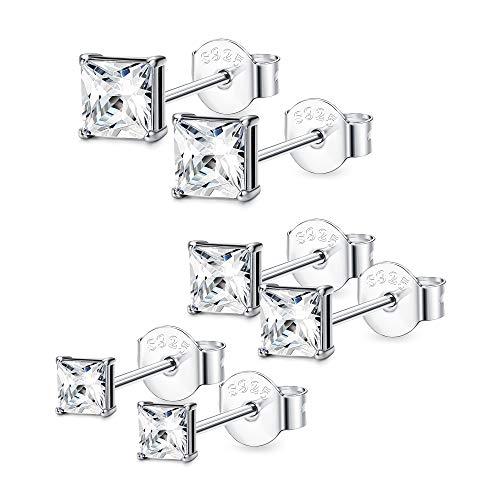 BESTEEL 3 Paar 925 Sterling Silber Ohrringes für Herren Damen Mädchen mit Zirkon Ohrringe Schmuck Elegant, 4,5,6 MM