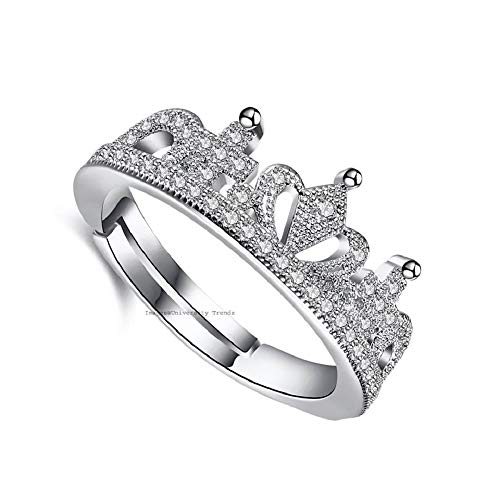 University Trendz Women's Crystal and Silver Queen Crown Pattern Ring in Wooden Box (Silver)