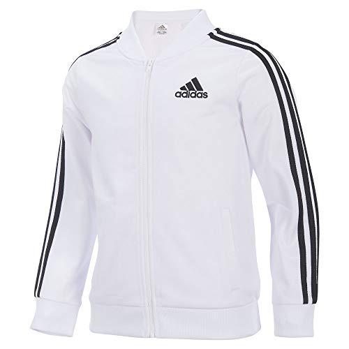 adidas Girls' Big Tricot Bomber Track Jacket, White, Large