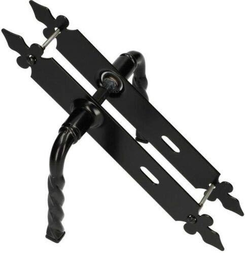 Picaporte para puerta de 72 mm PZ/BB/WC, picaporte decorativo negro, universal, para interior y exterior, hierro forjado, resistente a la corrosión (BB)