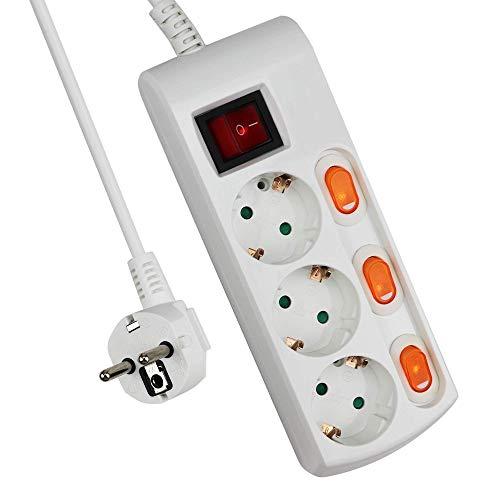 ExtraStar Regleta con 3 Tomas + 3 Interruptor Individuales, 3680 W, 250...