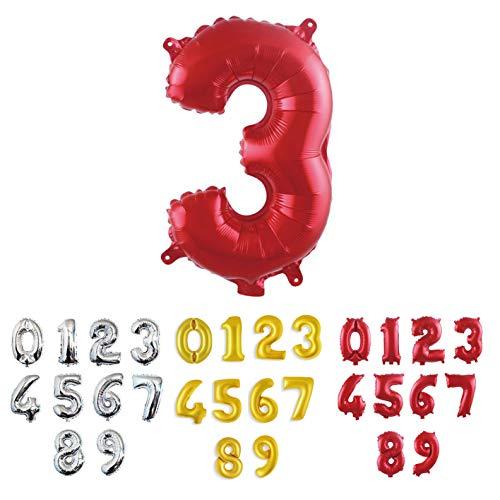 NonSoloFimo Pallone Gigante XXL 100 CM, Numero 3 Rosso, Numeri Gonfiabili Elio o Aria Palloncini per Anniversario, Decorazione Festa di Compleanno 3 Anni Palloncino