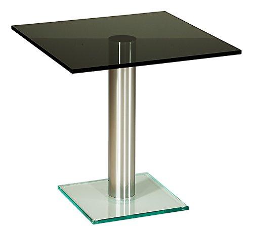 tischdesign24 Darwin529 Ecktisch mit 12mm Glasplatte. Stollen in 80mm rund Chrom gebürstet. Parsolglas Größe: 60 x 60 cm Quadratisch Höhe: 50cm